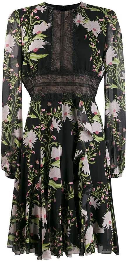 panelled lace floral dress