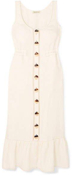Linen Midi Dress - White
