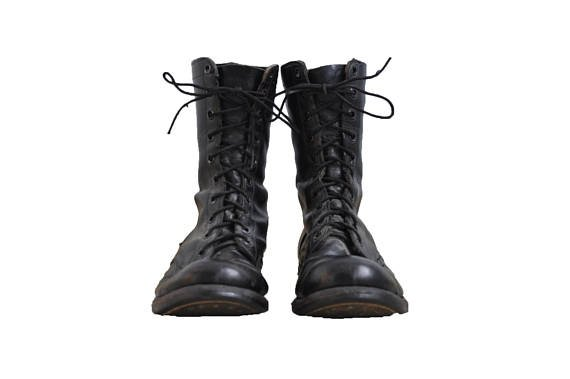 Vintage 1967 Vietnam War Leather Boots // 12 // Black // Lace-up // Army // Military // Punk // 70s // 60s // Engineer // Standard Issue //