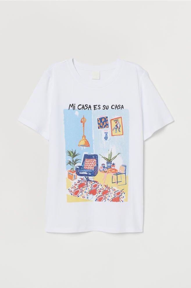 T-shirt - White/Mi Casa - Ladies   H&M CN