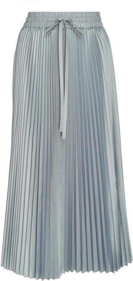 Pleated Satin Midi Skirt