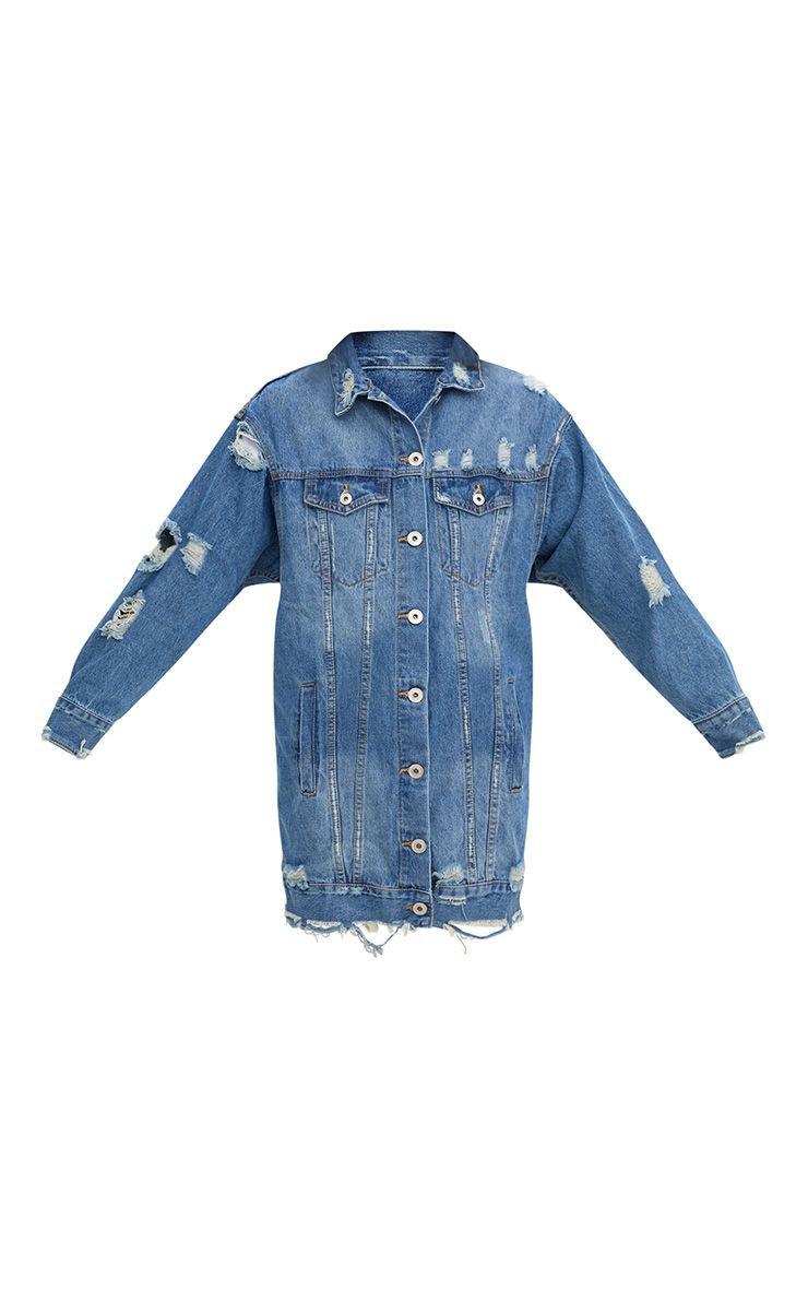 Mid Wash Longline Distressed Denim Jacket | PrettyLittleThing USA