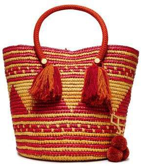 Asema Embellished Woven Straw Tote