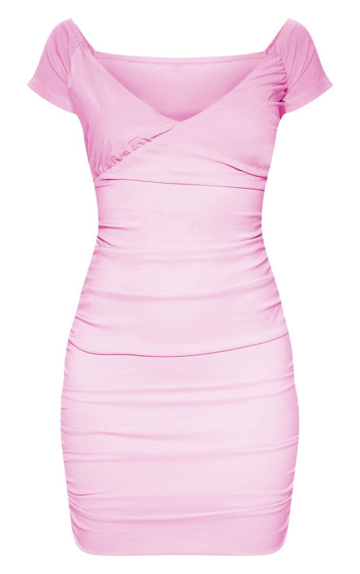 Lilac Ruched Bardot Bodycon Dress   Dresses   PrettyLittleThing