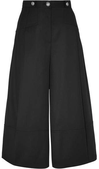 Button-embellished Pleated Wool-crepe Culottes - Black