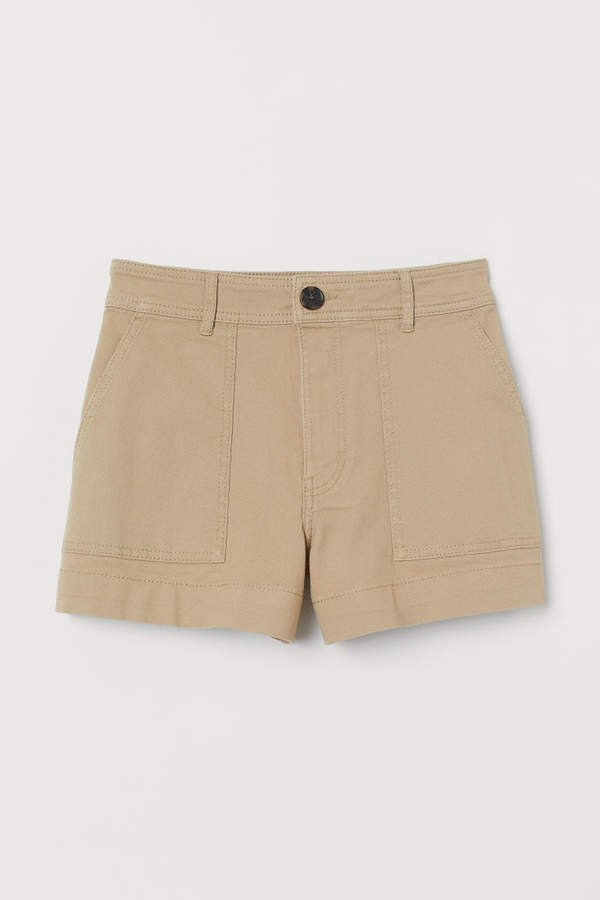 Cotton Twill Shorts - Beige