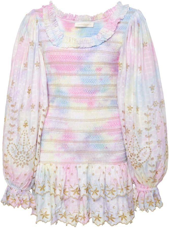 Celia Smocked Tie Dye Mini Dress