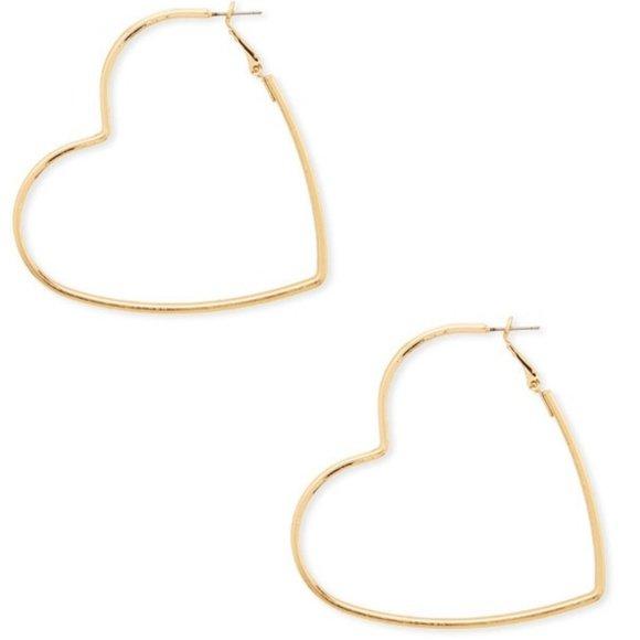 Gold Heart Shaped Hoop Earrings
