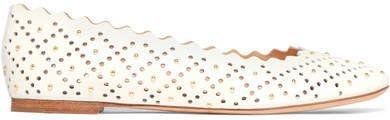Lauren Scalloped Studded Laser-cut Leather Ballet Flats - White