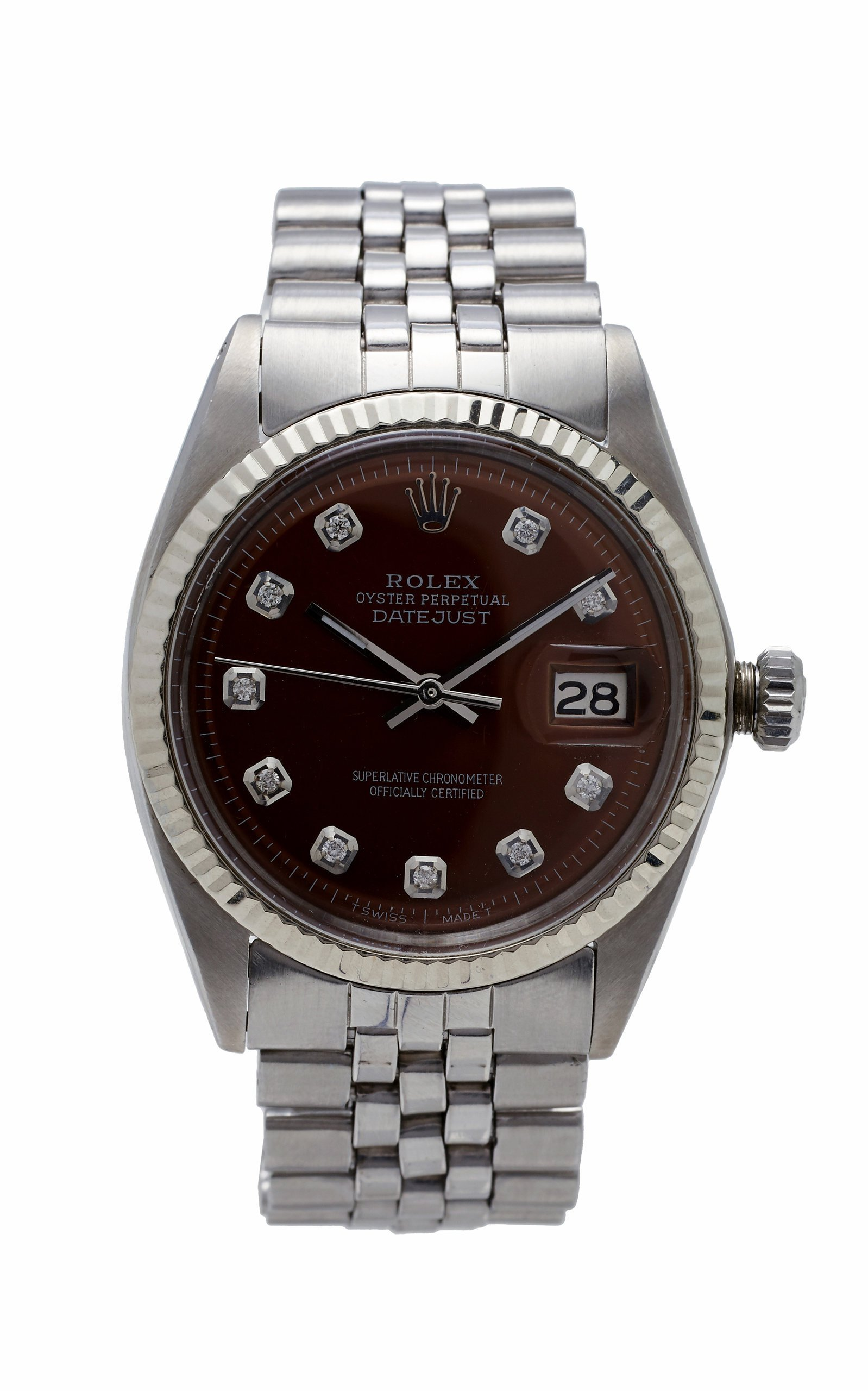 Vintage Watches Rolex Datejust 36mm Rootbeer Pearlized Diamond Dial