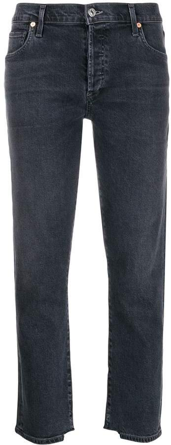 distressed detail cropped jeans