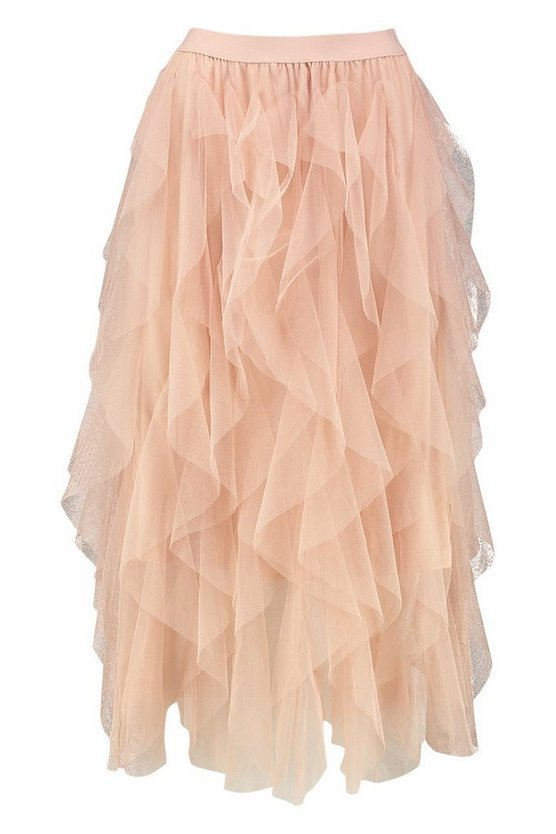 Layered Tulle Midi Skirt pink   Boohoo