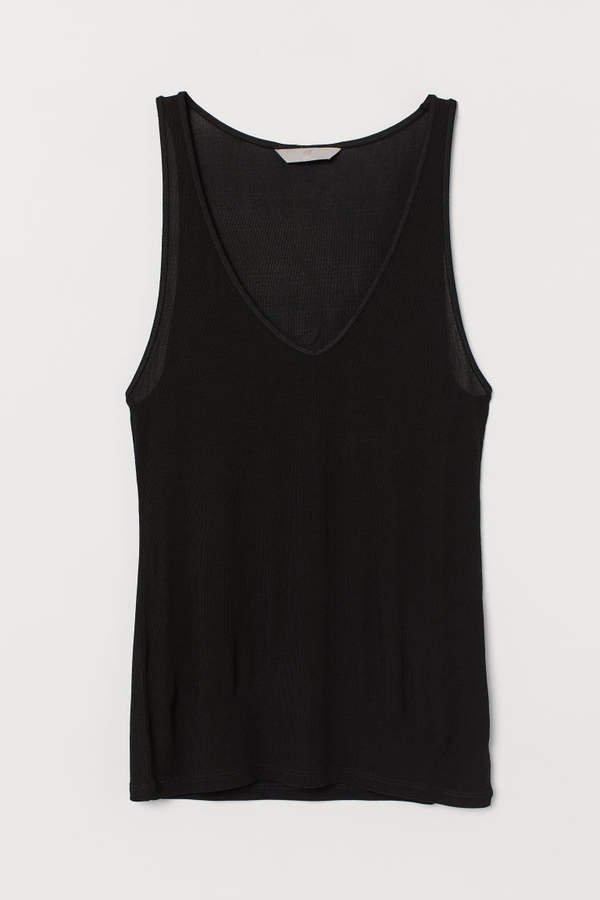Silk Jersey Tank Top - Black