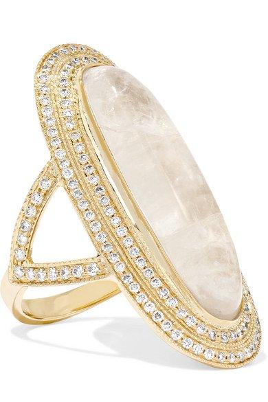 Jacquie Aiche   14-karat gold, moonstone and diamond ring   NET-A-PORTER.COM