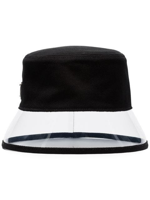 Prada logo-plaque PVC and canvas bucket hat £225 - Buy Online - Mobile Friendly, Fast Delivery