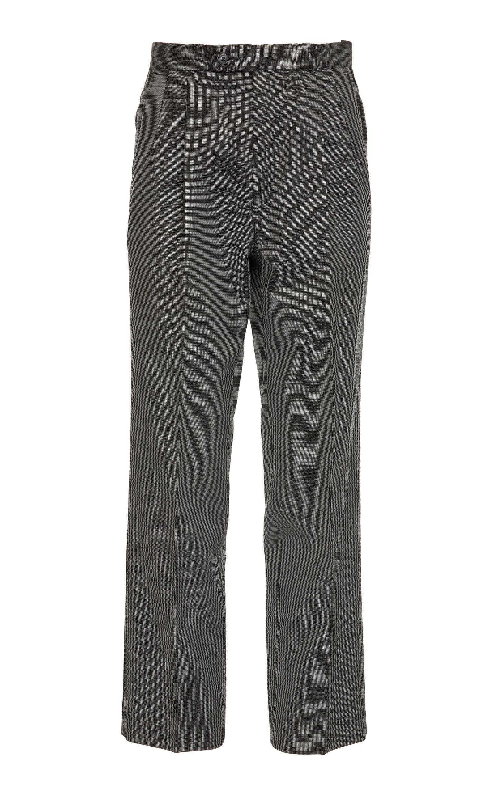 SITUATIONIST Classic Check Wool Straight-Leg Pant