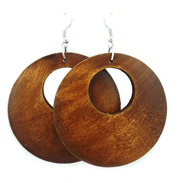 Amazon.com: Wooden Earrings - Round Wood Earrings - Wood Earrings - Rasta Earrings-Wooden Handmade Earrings (Brown): Jewelry