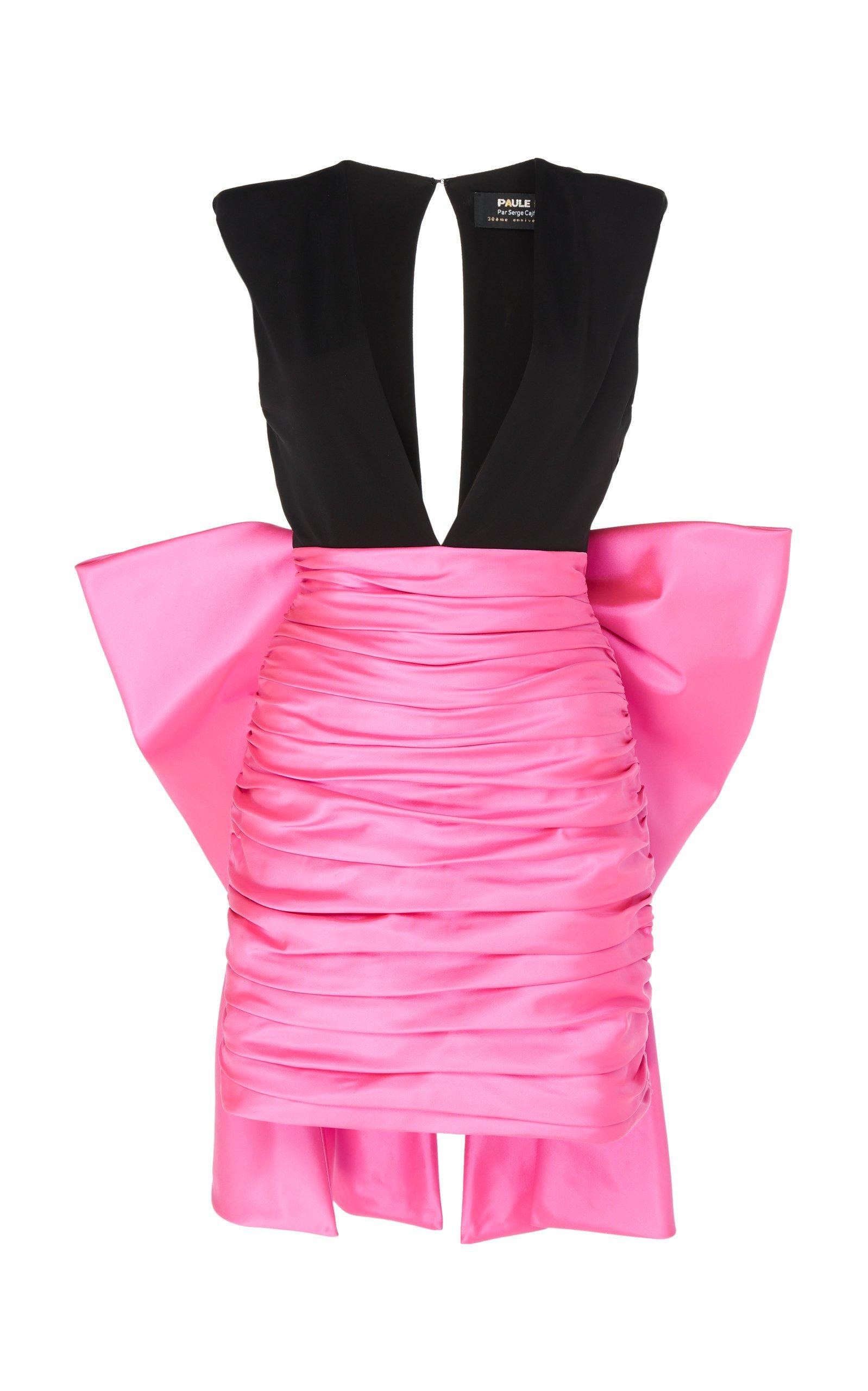 Paule Ka Ruched Duchess Satin Mini Dress