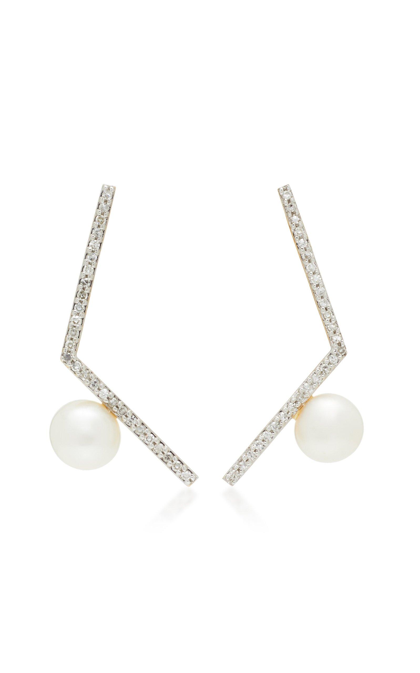 Mateo 14K White Gold Pearl Earrings