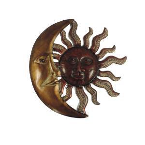 Litton Lane 36 in. Global Inspired Bronze Finish Celestial Sun Iron Wall Decor-97917 - The Home Depot
