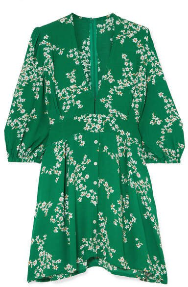 Margot Floral-print Crepe Mini Dress - Green