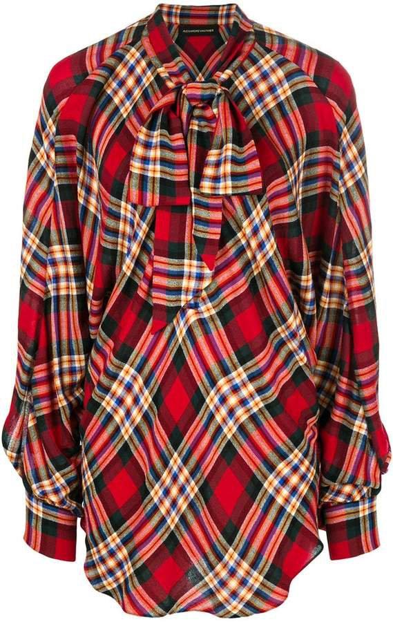 oversized plaid blouse