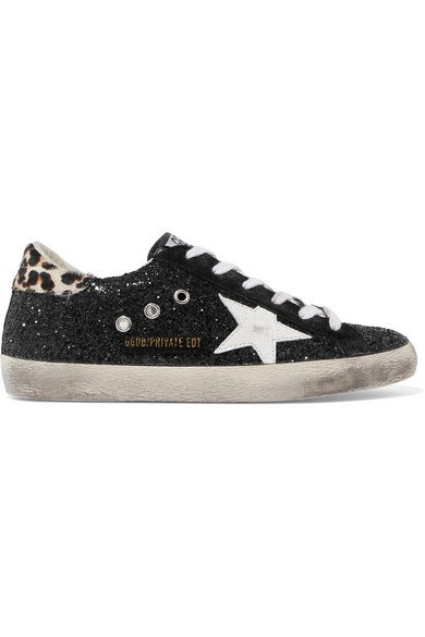 Golden Goose Deluxe Brand | Superstar calf hair-trimmed distressed glittered leather sneakers | NET-A-PORTER.COM