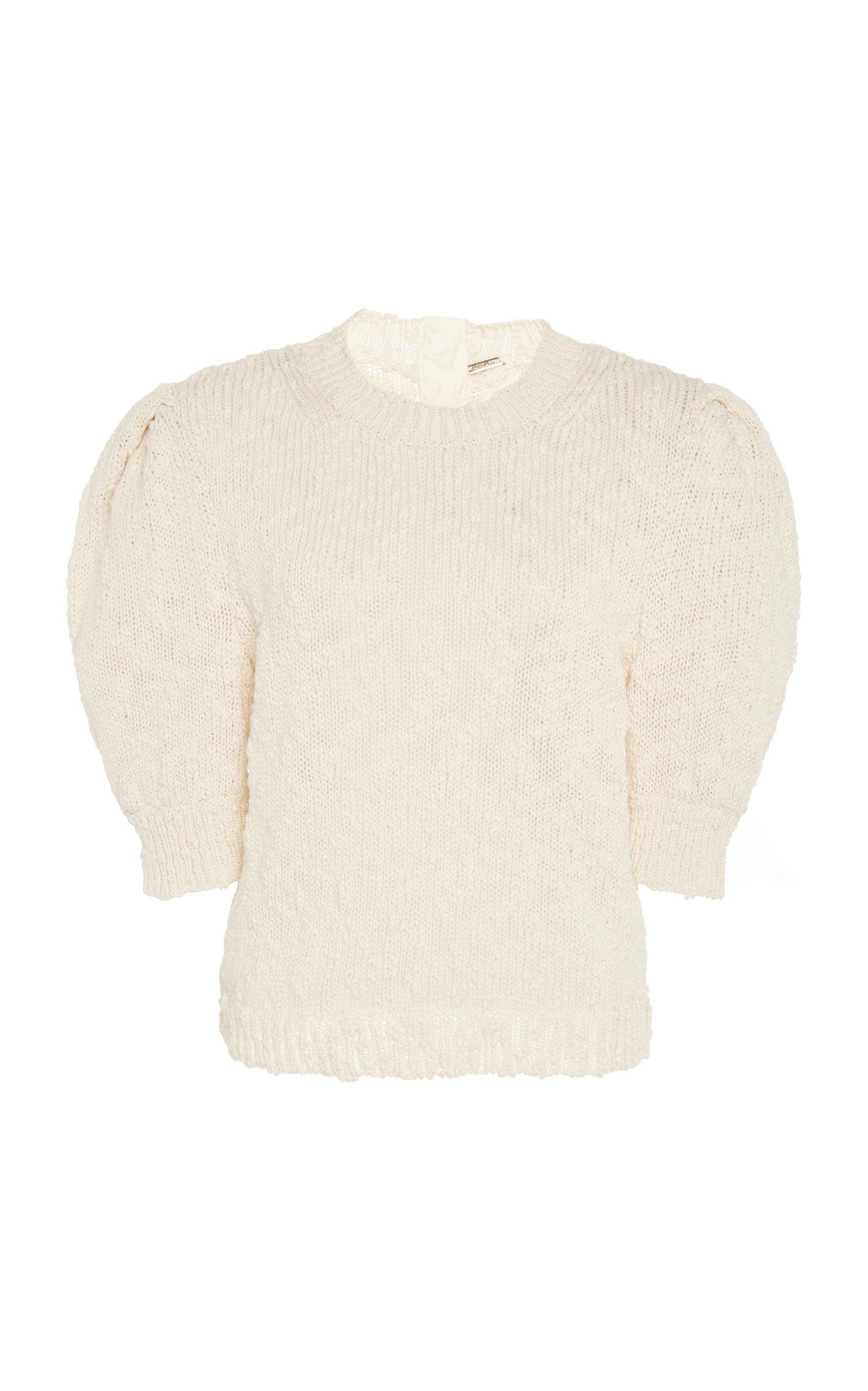 Adam Lippes Textured Cotton Puff Sleeve Knit