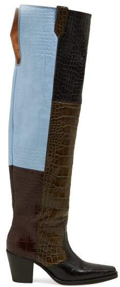 Crocodile Effect Leather Knee Western Boots - Womens - Black Multi