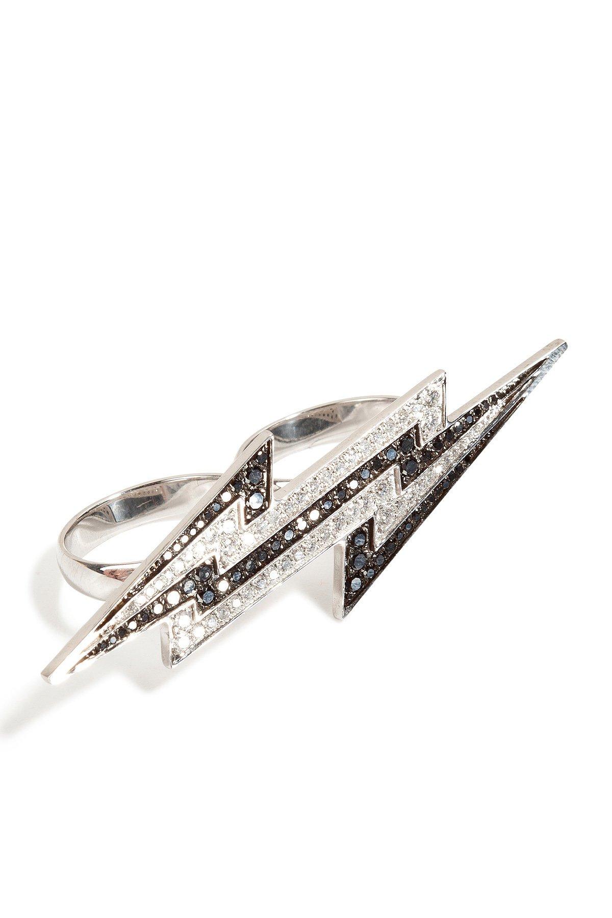 Sterling Silver Lightening Bolt Ring with Diamonds Gr. 6.5
