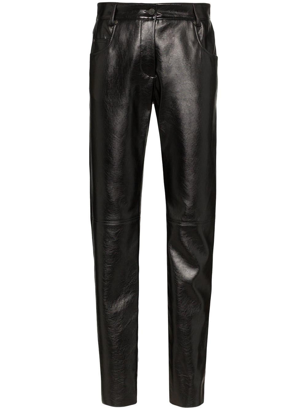 Black Msgm Slim-Fit Trousers | Farfetch.com