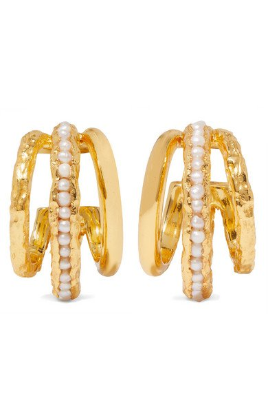 Pacharee | Gold-plated pearl hoop earrings | NET-A-PORTER.COM