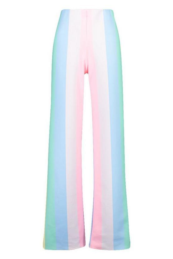 Pastel Stripe Wide Leg Trousers | Boohoo blue