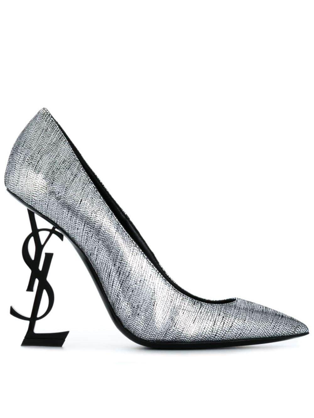 Silver Saint Laurent Opyum Pumps | Farfetch.com