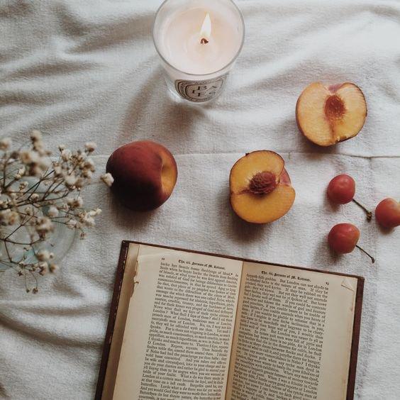 peaches and a book