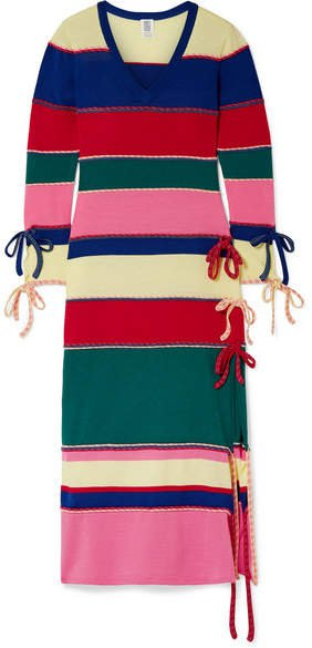 Striped Wool Midi Dress - Pink
