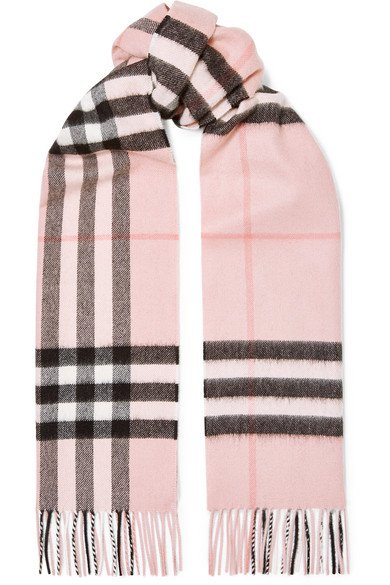Burberry   Fringed checked cashmere-twill scarf   NET-A-PORTER.COM