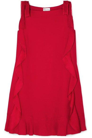 REDValentino   Grosgrain-trimmed ruffled crepe mini dress   NET-A-PORTER.COM