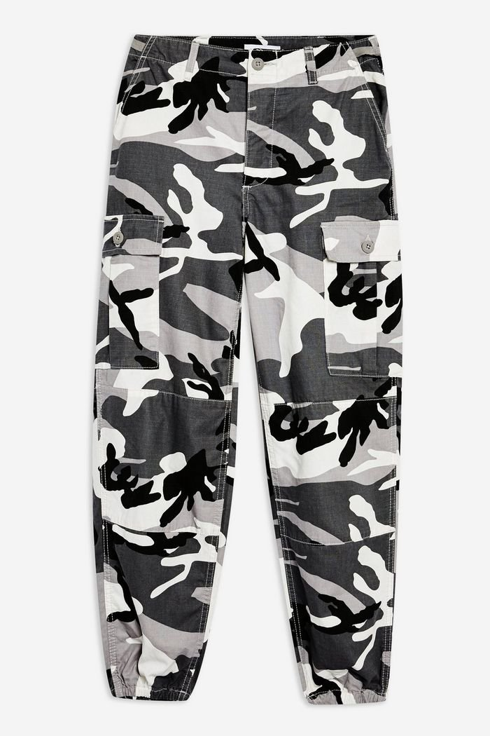 PETITE Grey Camouflage Trousers | Topshop