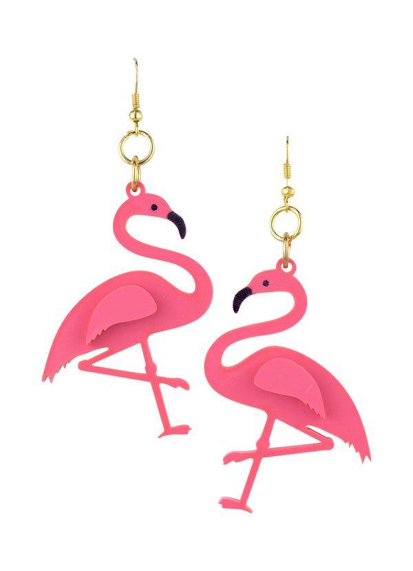 Flamingo Drop Earrings Coral Pink - Black Heart Creatives