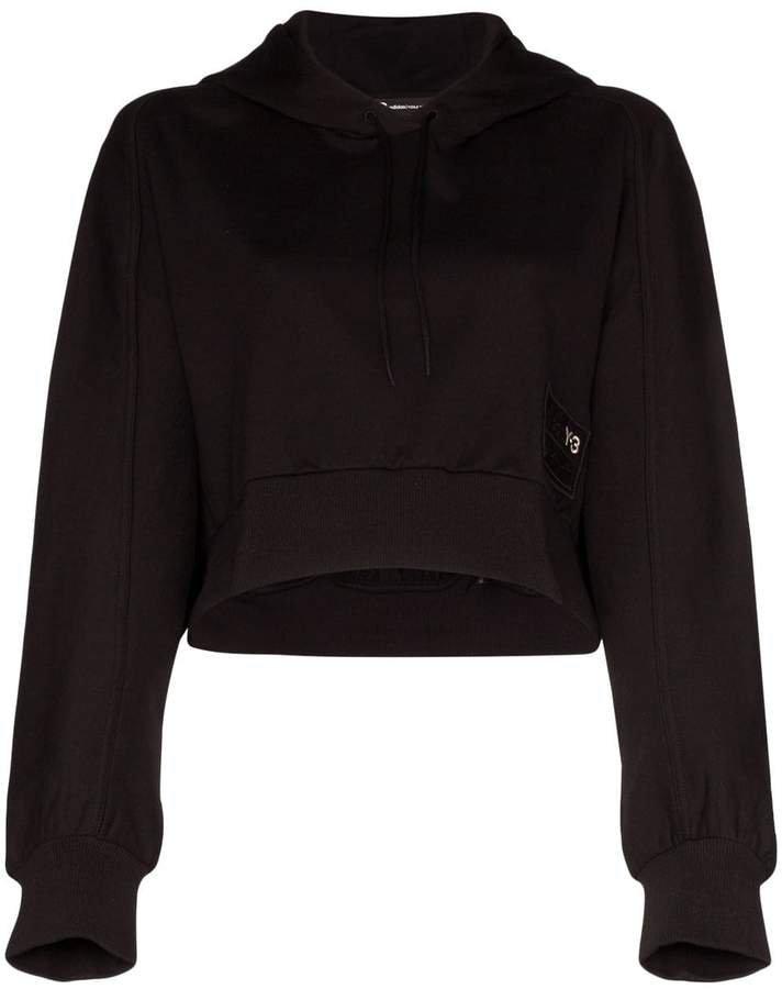 logo crop cotton hoodie