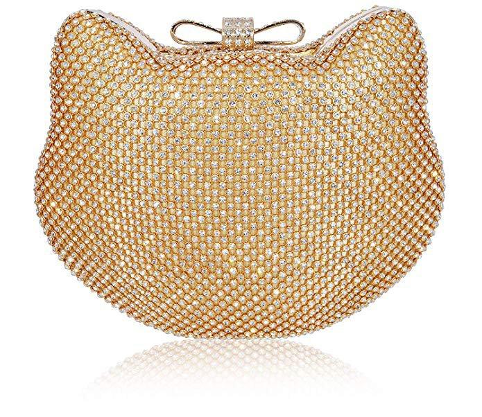 Mossmon Crystal Clutch Cat Shape Luxury Rhinestone Women Evening Bag (Gold): Handbags: Amazon.com