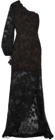 One-shoulder Tasseled Corded Lace Gown - Black