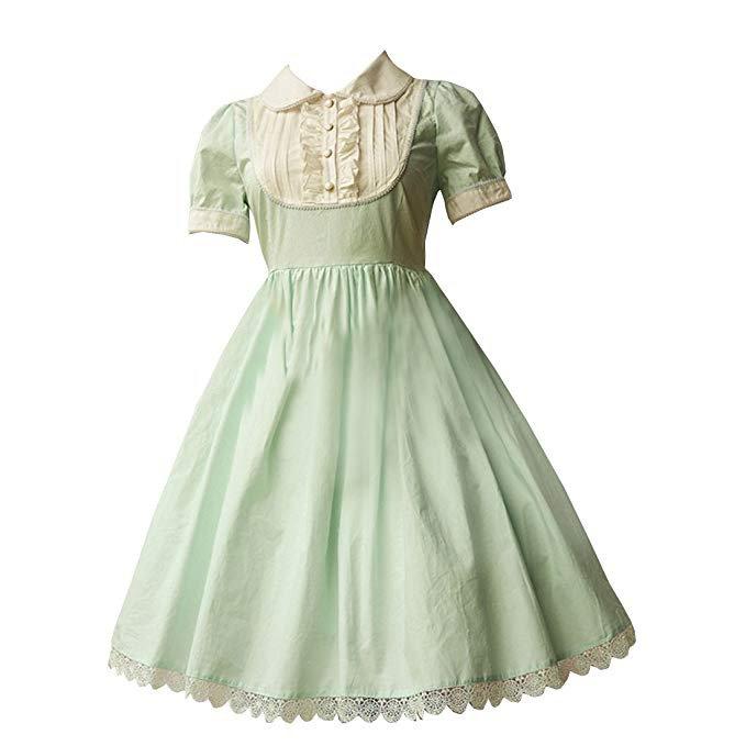 Partiss Women's Light Green Cotton Lolita Dress at Amazon Women's Clothing store: