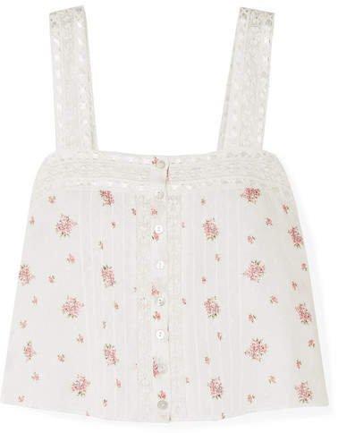 Daisy Crochet-trimmed Floral-print Swiss-dot Cotton-gauze Top - Ivory