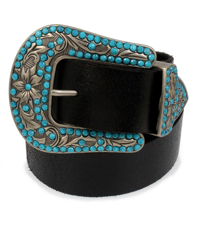 FRYE AND CO Frye & Co Embellished Western Buckle Crackle Leather Belt