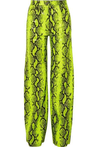 Off-White | Neon snake-effect leather straight-leg pants | NET-A-PORTER.COM
