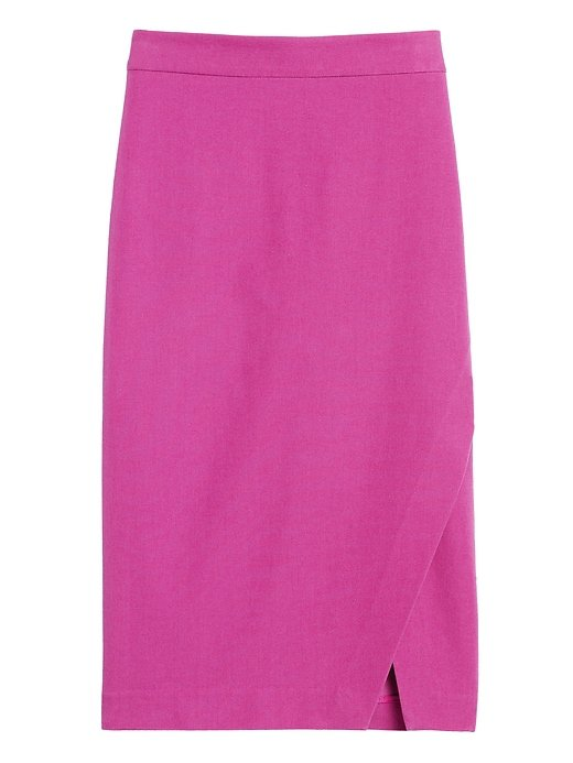 Bi-Stretch Wrap-Front Pencil Skirt   Banana Republic purple