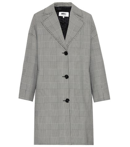 Houndstooth wool-blend coat