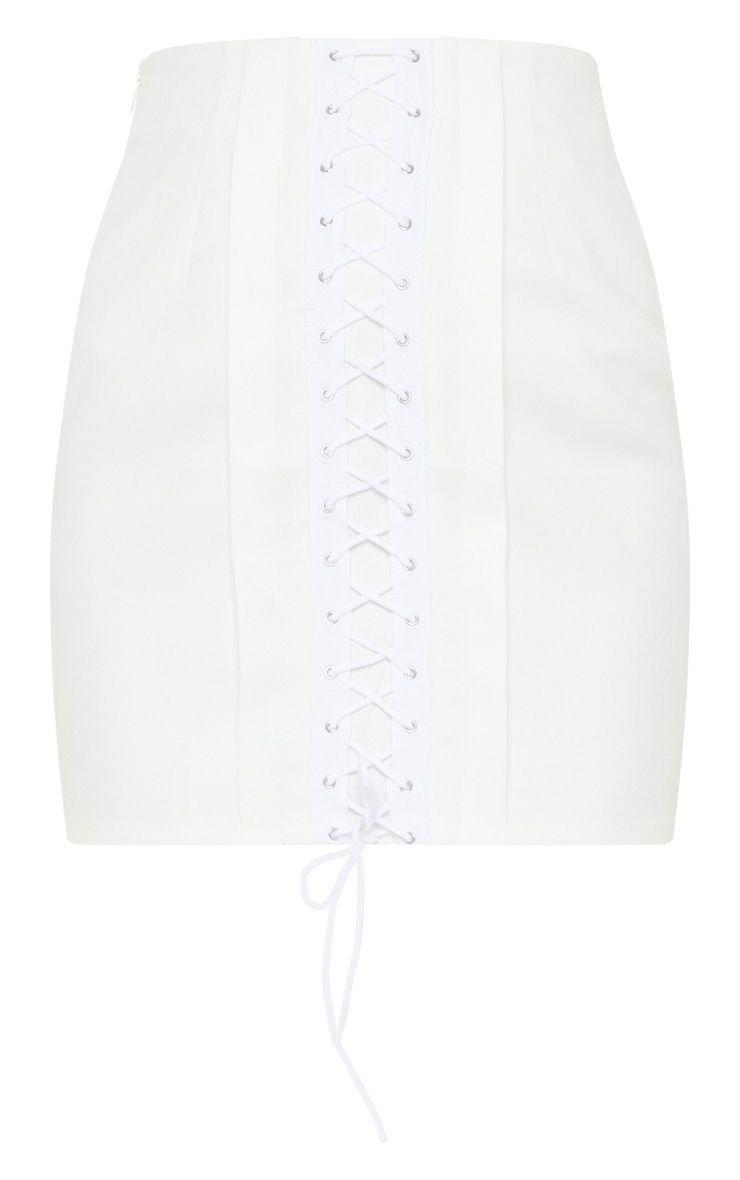 White Lace Up Detail Mini Skirt   Skirts   PrettyLittleThing USA